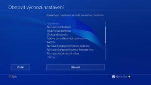 PS4 tovární nastavení